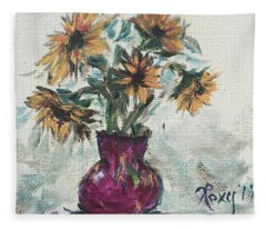 Sunflowers In A Pink Vase Fleece Blanket