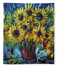 Sunflowers In A Vase Palette Knife Painting Fleece Blanket