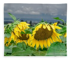 Sunflowers On A Rainy Day Fleece Blanket