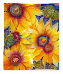 Sunflowers On Blue II Fleece Blanket