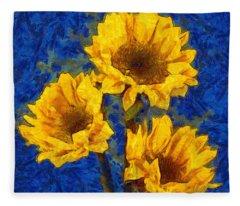 Sunflowers On Blue - Van Gogh Style Fleece Blanket