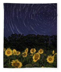 Sunflowers Under The Night Sky Fleece Blanket