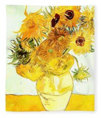 Sunflowers - Van Gogh Fleece Blanket