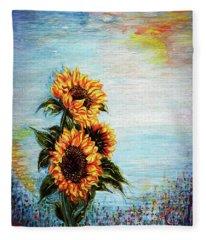 Sunflowers - Where Ocean Meets The Sky Fleece Blanket