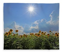 Sunflowers With Sun And Clouds 1 Fleece Blanket