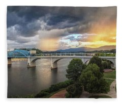 Sunlight And Showers Over Chattanooga Fleece Blanket