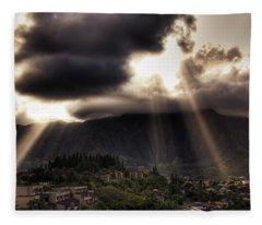 Sunlight Breaking Through The Gloom Fleece Blanket