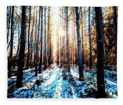 Sunlight Through The Trees Fleece Blanket