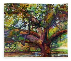 Sunlit Century Tree Fleece Blanket