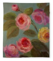Sunlit Roses Fleece Blanket