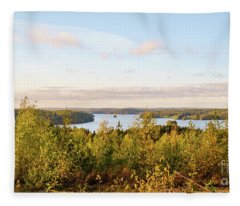 Sunny Autumn View At The Lake Hiidenvesi Fleece Blanket