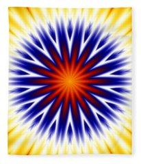 Sunny Fractal Tie Dye Fleece Blanket