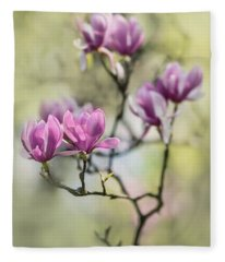 Sunny Impression With Pink Magnolias Fleece Blanket