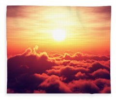Sunrise Above The Clouds Fleece Blanket