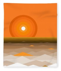 Sunrise Abstract In Orange Fleece Blanket
