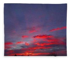 Sunrise Abstract, Red Oklahoma Morning Fleece Blanket