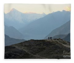 Sunrise Among The Karakoram Mountains In Hunza Valley Pakistan Fleece Blanket