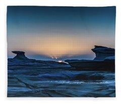 Sunrise And Rock Platform Landscape Fleece Blanket
