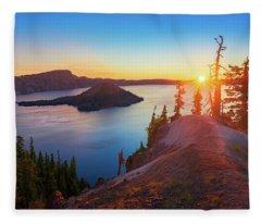 Sunrise At Crater Lake Fleece Blanket
