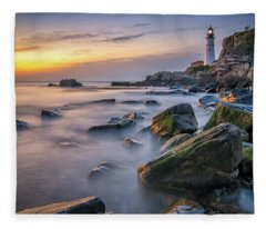 Sunrise At Portland Head Light Fleece Blanket