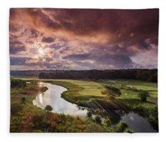 Sunrise At The Course Fleece Blanket