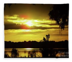 Sunrise At The Lake Fleece Blanket