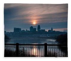 Sunrise From Kaw Point Fleece Blanket