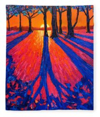 Sunrise In Glory - Long Shadows Of Trees At Dawn Fleece Blanket