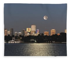 Moonrise Over Miami Fleece Blanket