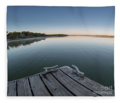 Sunrise On A Clear Morning Over Large Lake With Fog On Top, From Fleece Blanket