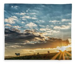Sunrise On The Farm Fleece Blanket