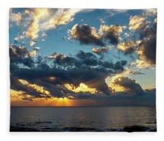 Sunrise On The French Riviera Fleece Blanket