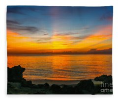 Sunrise On The Rocks Fleece Blanket