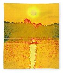 Sunrise On Town Lake Fleece Blanket
