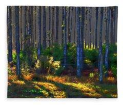 Sunrise On Tree Trunks Fleece Blanket