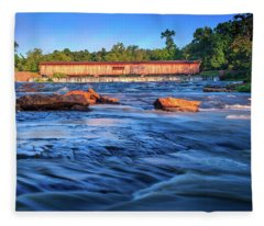Sunrise On Watson Mill Bridge Fleece Blanket