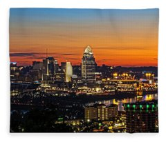 Sunrise Over Cincinnati Fleece Blanket