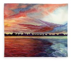 Sunrise Over Indian Lake Fleece Blanket