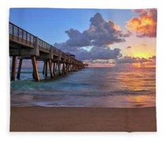 Sunrise Over Juno Beach Pier In Florida Fleece Blanket