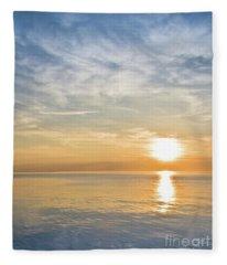 Sunrise Over Lake Michigan In Chicago Fleece Blanket