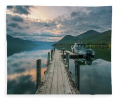 Sunrise Over Lake Rotoroa Fleece Blanket