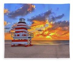 Sunrise Over Lifegaurd Stand On South Miami Beach  Fleece Blanket