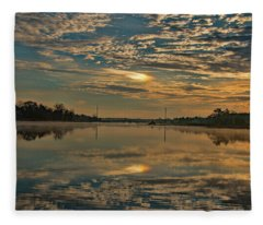 Sunrise Over Mill Pond  Fleece Blanket