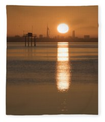 Sunrise Over Portsmouth Fleece Blanket