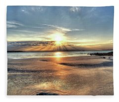 Sunrise Over Red Rock Park Lynn Ma Kings Beach Fleece Blanket