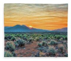 Sunrise Over Taos Fleece Blanket