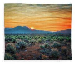 Sunrise Over Taos II Fleece Blanket