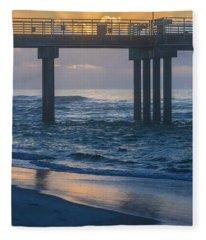 Sunrise Over The Pier Fleece Blanket