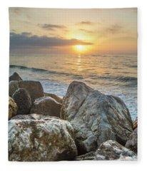 Sunrise Over The Rocks  Fleece Blanket