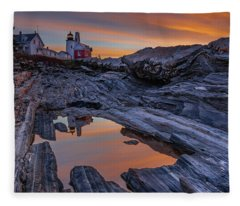 Sunrise Reflections At Pemaquid Point Fleece Blanket